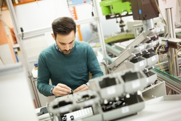 Mechanical Engineer working in lab